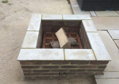 storage heater bricks inside fire pit