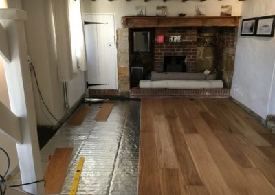 new oak floor and under floor heating installed