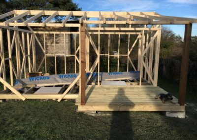 timber build under way using treated timber lower levels